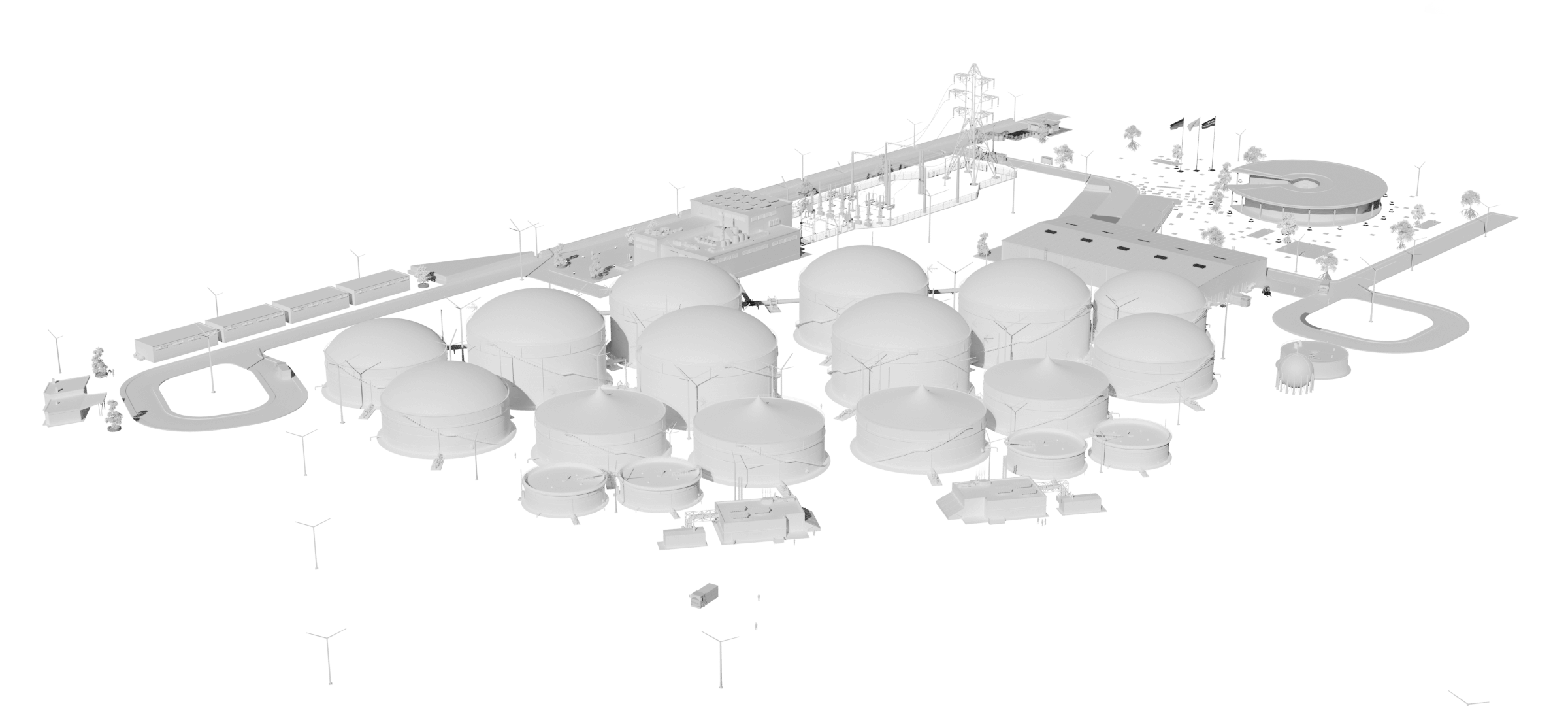 biogas power plant 3D model