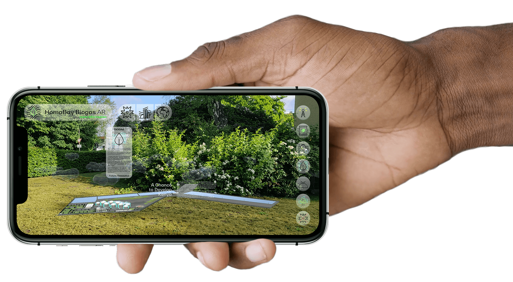 Hand holds Smartphone in landscape with PlantBlue app